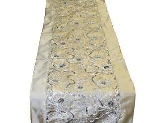Violet Linen Crown Embroidered Sequins Table Runner, 14 x 34, Ivory