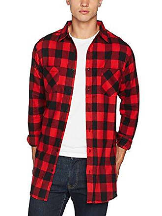 Flanell Checked large 00044 red Shirt zip X Urban Hombre Side Para Classics Camisa blk Long wqXnpZR