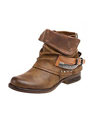 Farbe Boots eu36 Sbo067 uk3 Caspar Fashion Damen Biker us6 Vintage braun;größe qCAIwY
