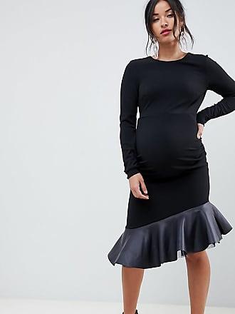 Noir Avec Basque Ourlet En Asos Courte Robe Pu Maternity À RwpqPgC