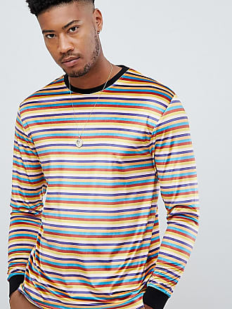 Mehrfarbig Mit In TallLangärmligesLegeresGestreiftes Velours farben Shirt Kontrastierender Asos Aus Retro Rippung 3Aj5Lc4Rq