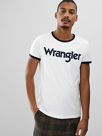 shirt Kabel Contrastants Grand Rétro Wrangler Et Logo à Blanc T Bords aBYdxEw