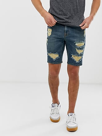 Shorts Asos Design Marcadas Oscuro Azul Ajustados Con Vaqueros Lavado En De Roturas dpTwpx