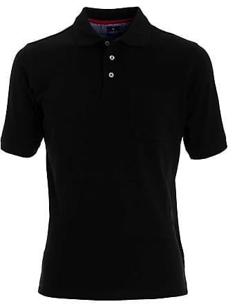 Einfarbig Redmond Kurzarm Poloshirt Schwarz Casual FYrqYwI