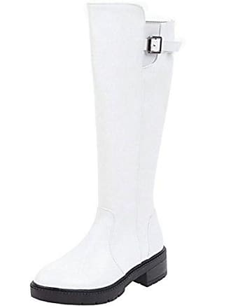 Blockabsatz Mid Zipper White Size Heel Damen Zanpa Stiefel Asian 36 Einfach R7x6wxEFq