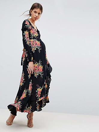 Longue Longues Maternity Robe Multi Motif Manches Asos À Floral Et XpvEdXqw