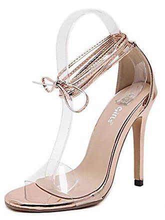 37 Sexy Up Schnürung Stilettos Champagner Lace Transparent Damen Peep Toe Aisun Eu Sandale QrdhxtsC