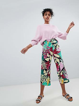 Monki Pantalon Fleurs Multi Large À vvdrwBOZq