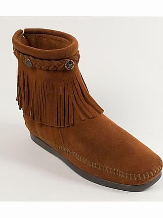 Camel Boots Cuir Cheville Tresse Franges Suede Avec Minnetonka qvd0Cq