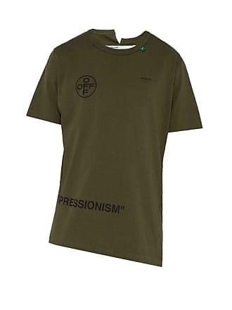 Off T Shirt Print Cotton whiteStencil Green Mens b6f7yg