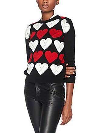 Moschino Hearts Love C74 black Mujer Sudadera Stitch Para Intarsia Knitwear Argyle 36 Plain Sq1R1f