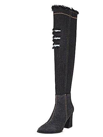 Overkneestiefel Pull Jeans On Gr Black 43 Mode Blockabsatz Damen Zanpa vmN0O8wn