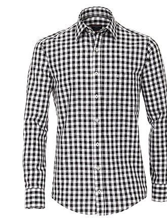 Normalgrößen Schwarz Langarmhemd »leinenmischung Kariert« Hemd Schwarz Casamoda qgaU0x