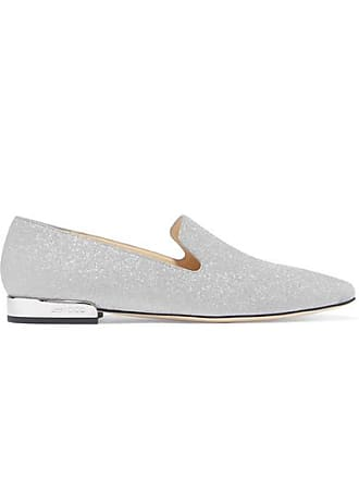 Glitter Jimmy London Choo Leder Silber finish Jaida Mit Aus Loafers S6AFr0SU