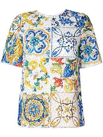 Broderies Imprimé À Gabbana Et Multicolore T Dolce Anglaises amp; Majolica shirt 5wRxWIq8PT