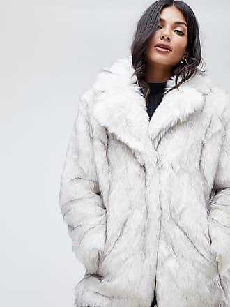 Design Glam Fausse Oversize Asos Tall Fourrure Blanc Manteau Blanche Eqwx54