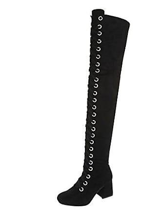 Gr Damen Stiefel schuhe Schnürer design Ital Blockabsatz My206 Overknees Schwarz 36 Reißverschluss 6q4wzEEBW