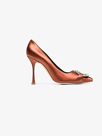 Satin Silk Crystal Manolo Orange Maidu 105 Buckle Pumps Blahnik PxZpqwH