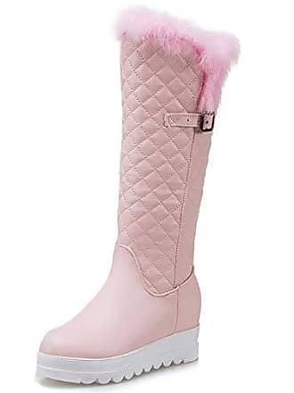 Snow Asian Taoffen Gr Lange Mode Keilabsatz Knie Winterstiefel 39 Plateau Boots Pink Stiefel Damen RqwpB8