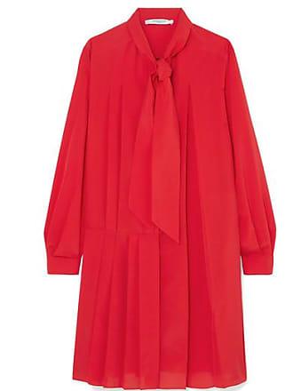 Soie robe À De Noeud Plissée Crêpe Chine En Mélangée Lavallière Rouge Givenchy Mini C5qwBxFn0B