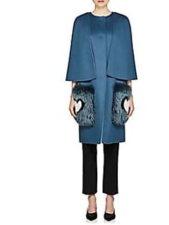 Fendi Trimmed Fur Blue It Womens Wool 38 Coat Talla wafRq