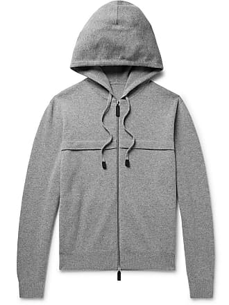 Knitted Leather trimmed up Gray Zip Berluti Hoodie wEHqxgwd