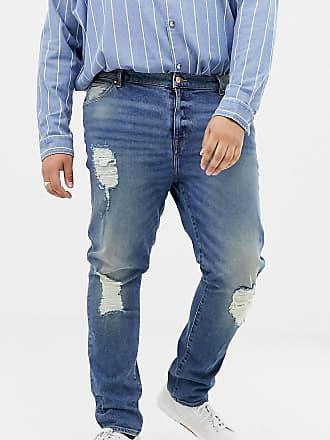 Blau Rissen Enge Jeans Mittelblau Asos Großen In 12 05oz Plus Verwaschenem Mit pqOt0Pw