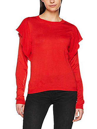 Rouge Pull Only Pullover Cc Onllova Ruffle Knt flame Ls Femme nwwq8aYU