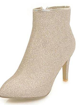 Damen Boots Easemax Gold Ankle Stiefel Zehe Mit Absatz Modisch 35 Sexy Eu Pailletten Spitze PXuTkOiZ