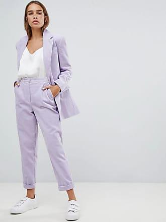 Côtelé À Fuselé Asos Revers Velours Pantalon En Violet wrY8RRxqE5