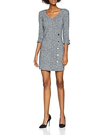 Natalie Com Guess Blue tweed Femme Ft60 Abito Large Dress white Multicolore Robe ffBTqz5