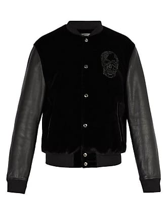 Leather Black And Jacket Alexander McqueenVelvet Mens Bomber OiTPuZXk