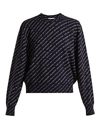 Neck Blend White SweaterWomens Navy Balenciaga Wool Crew hQrdxsCt