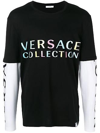 Lange Collection Met Versace T Zwart Mouwen shirt Gelaagd Tawwgnvqf