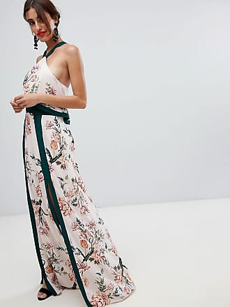Robe Avec Longue Blanc Fleurie Stylestalker Aries Fentes 8I5qnwO