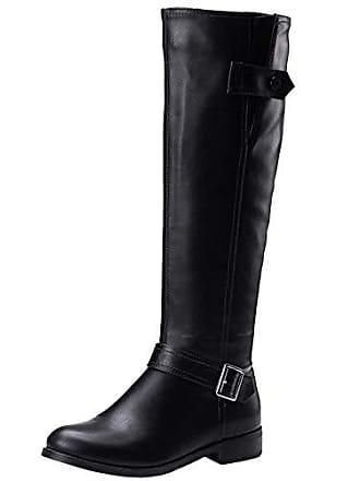 High Schuhe Black Reißverschluss Niedirg Size Stiefel Lange Party Casual Absatz Boots 34 Damen Mode Kniestiefel Zanpa Equestrian XP6OqO