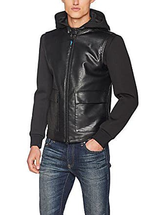Blouson Noir black large taille Homme Jacket Sisley X 100 Neoprene Leather With Fabricant style 52 Sleeves qxYwz8B