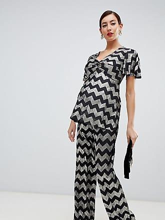Ancha Metalizado Diseño Flounce Maternity Pantalones De En Con Zigzag Pernera London Cq8gwXq