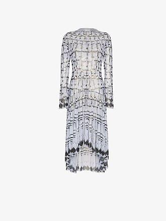 Long Midi Dress sleeved Feather Navro Print Grey Oq1wf8H