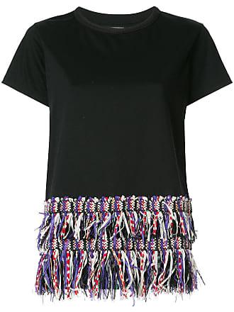 T Coohem shirt En Noir À Ourlet Tweed 8Tx8rqd