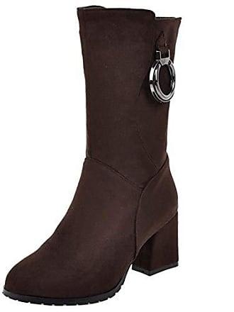 Boots Damen Party Absatz Herbst Heel Fashion High Asian 39 Brown Winter Mid Gr Halbschaft Razamaza Stiefel wpHxaw