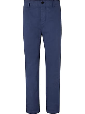 leg Suit twill Mr Garment Blue Peached P Trousers Cotton Wide dyed BqgS4Rpw