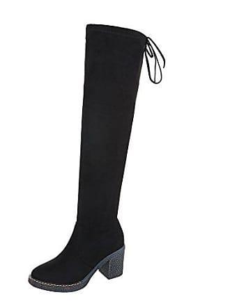 Reißverschluss 39 design Schwarz Stiefel 9143 Moderne Blockabsatz Gr Ital Overknees schuhe Damen ZRHUOw