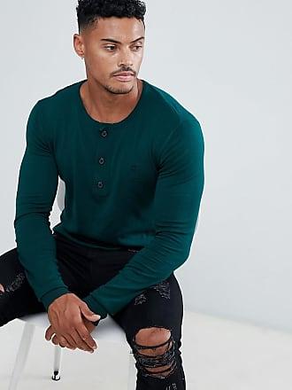 Maglione lavorato il di maglia con di religione verde collo a Henley qPwWq461A