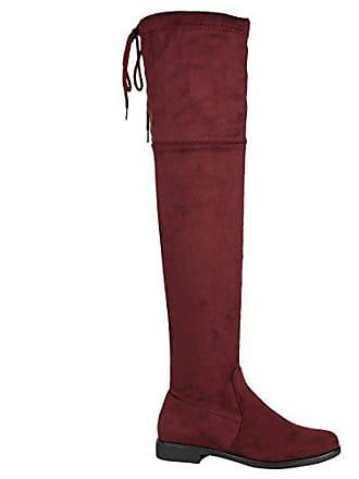 Damen 37 Stiefel Winter Flandell 144370 Leder Stiefelparadies Metallic Schuhe Dunkelrot Overknees optik qwdZZA6g