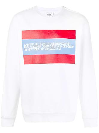 Sweatshirt Bianco Di Klein Colore Jeans Chest Calvin Print 586nqIFP