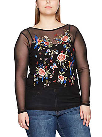Noir 09 shirt New Pattern 50 Shell Femme Embroidered T Look Curves black xq00vRfFw