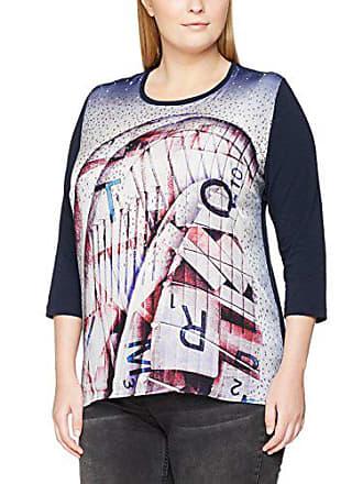 Shirt Materialmix Rundhals Arm 34 T Motiv Femme Bleu Frapp Druck wqaE0c