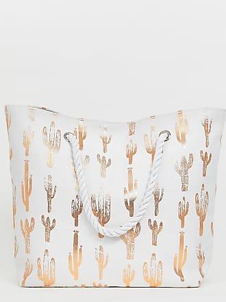 South Beach Mit Weiß Roségoldenem Kaktusmuster Strandtasche Exklusive qpgrqwzf