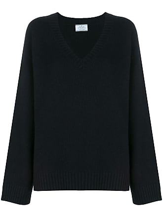 Zhqy5y Sleeve Prada V Long Neck Jumper Noir qYZw0wB